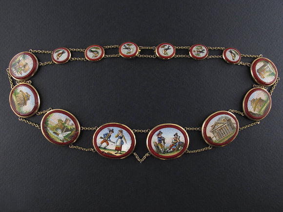 Georgian gold and micromosaic necklace