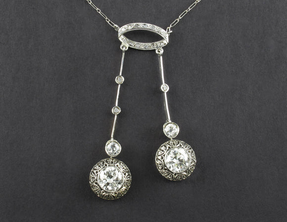 Edwardian platinum and diamond Lavallière necklace