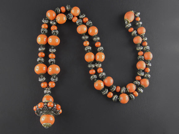 Mario Buccellati gold, silver and mediterranean coral Sautoir necklace, 1920