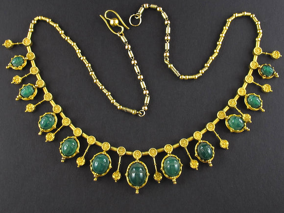 Victorian egyptian revival yellow gold necklace with scarabs.
