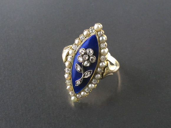 An early XIX Century gold, diamond and pearl enameled ring.