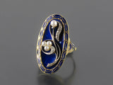 A XIX Century Victorian blue enameled gold, diamond and pearl ring.