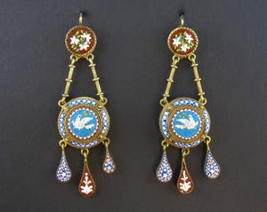 Victorian gold and micromosaic earrings