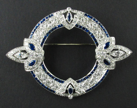 Art Déco platinum sapphire and diamond brooch, 1925 c.a.