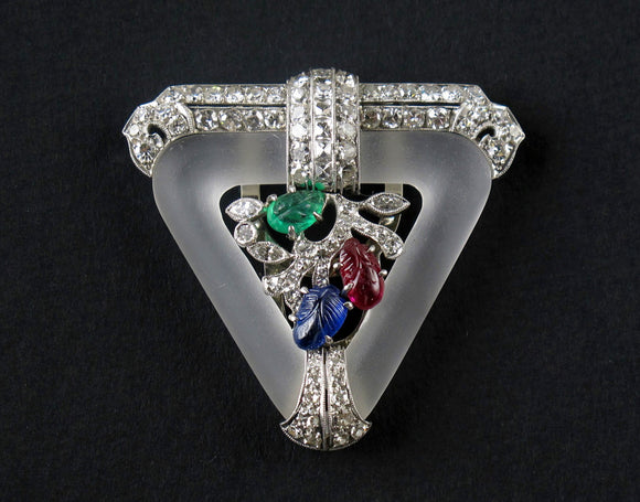 Tutti frutti, Art Déco, platinum, diamond, ruby, sapphire and emerald brooch, 1930.