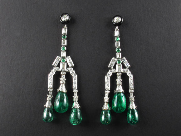 Diamond and emerald chandelier earrings