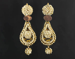 Antique gold and natural pearl earrings, 19th century.