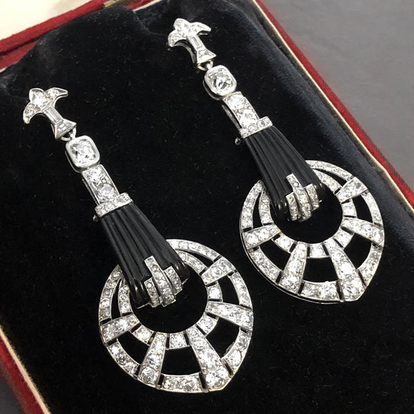 Art Deco platinum diamond and onyx earrings