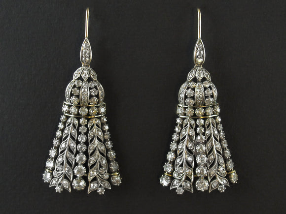 A pair of late Victorian gold and diamond tassel earrings. 1900 c.a.