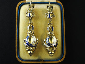 A XIX Century antique yellow gold enameled earrings,