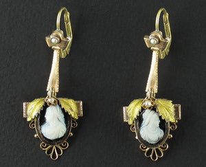 Victorian gold and cameo earrings, 19th century.