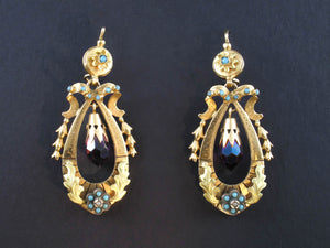 Victorian gold, turquoise and amethyst earrings