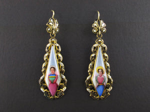 Gold enameled miniature earrings, Swiss, 1840 c.a.