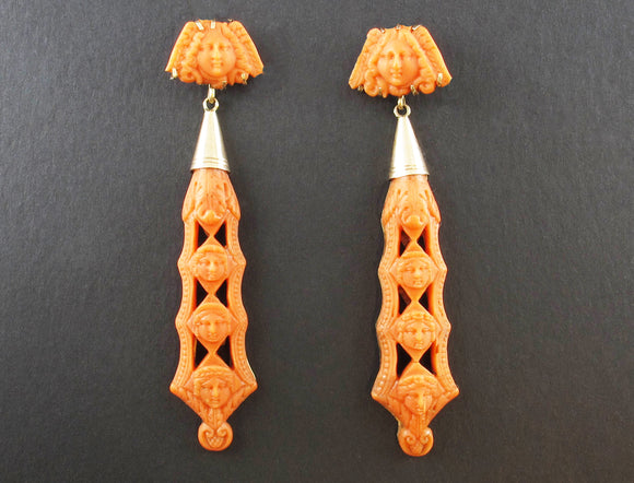 Georgian coral and gold earrings, 1840.