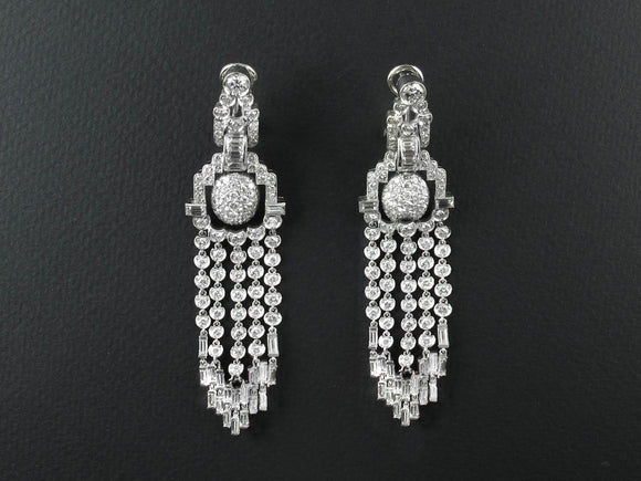 Chandelier platinum and diamond earrings. 1950 c.a.