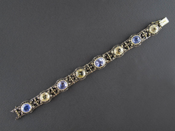 Mario Buccellati antique  silver topped yellow gold and sapphire bracelet