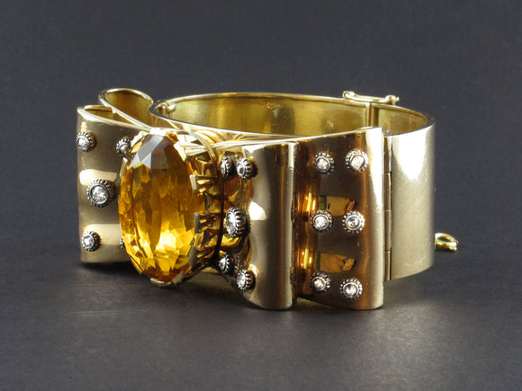 Retro gold, diamond and citrine ribbon cuff bracelet, 1940 c.a.