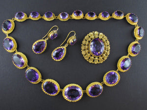 Early 19th century gold and amethyst parure