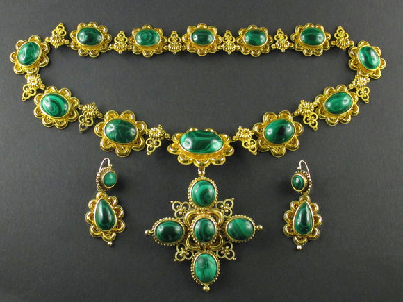 French antique gold and malachite parure
