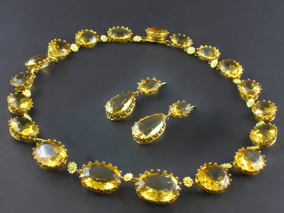 Georgian gold and citrine necklace and earrings