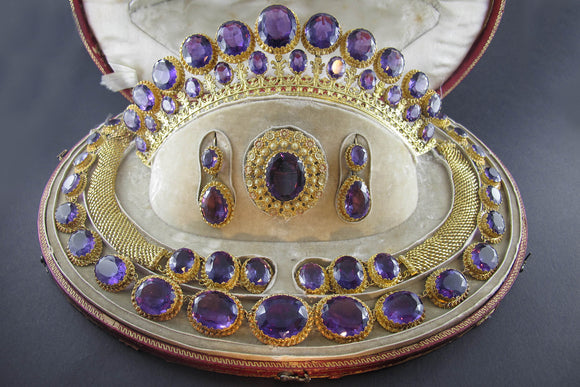 Georgian gold and amethyst parure