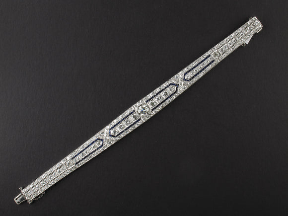 An Art Déco platinum, diamond and sapphire bracelet