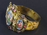 A yellow gold, pink quarz and miniature bracelet. Swiss 1830
