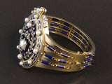 A Victorian yellow gold, silver, diamond, natural pearls and blue enamel bracelet