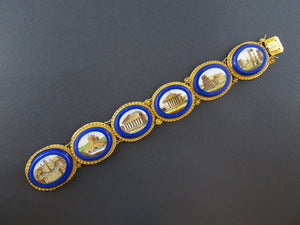 Victorian gold micromosaic bracelet with Roman ruins
