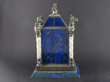 A XIX century silver, enamel and lapis lazuli desk clock. Vienna 1880 circa Probably HERMANN BOEHM