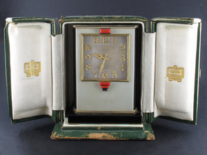 A rare yellow gold, black enamel, glass and coral electric Cartier desk timepiece 1931 In original Cartier fitted box
