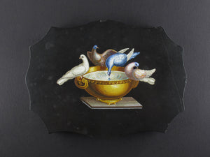Fine Quality XIX Century Micromosaic Paperweight Depicting Pliny's Doves. Roma 1860 circa