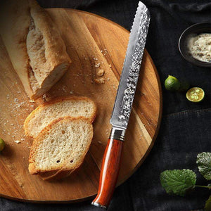 8-inch Serrated Bread Knife (Damascus Steel)