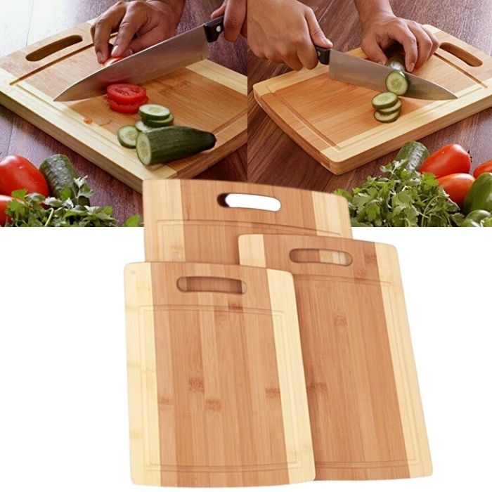 3-Piece Solid Bamboo Cutting Board Set