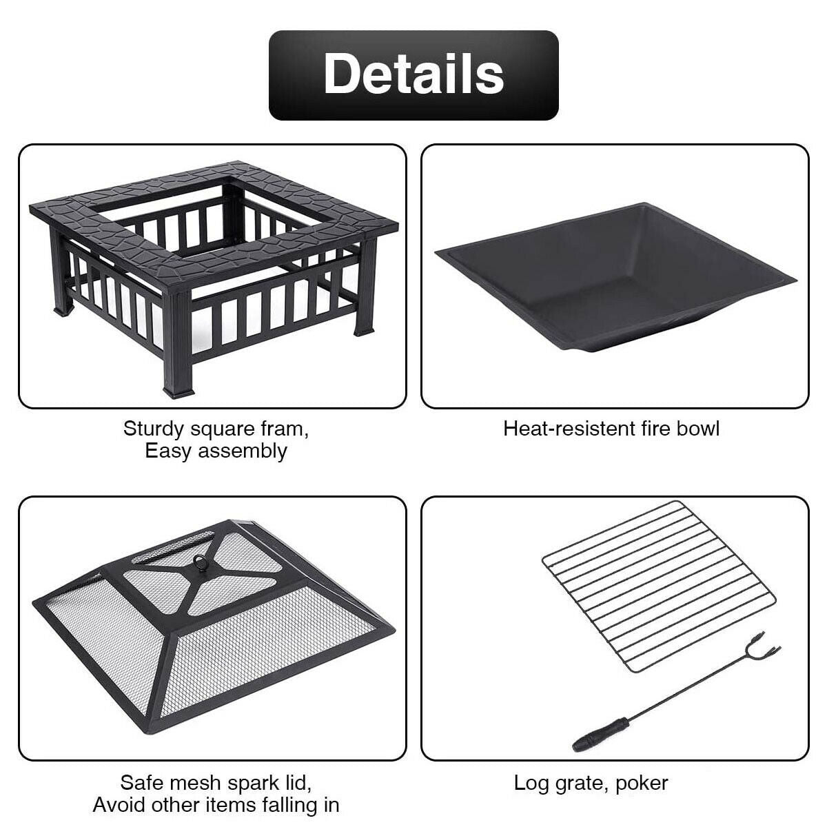 3 in 1 Square Fire Pit Table