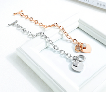Load image into Gallery viewer, New Fashion Heart-shaped Zircon Bracelet Rose Gold Color OT Clasp Titanium Steel Jewelry