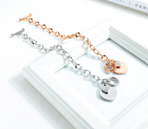 New Fashion Heart-shaped Zircon Bracelet Rose Gold Color OT Clasp Titanium Steel Jewelry