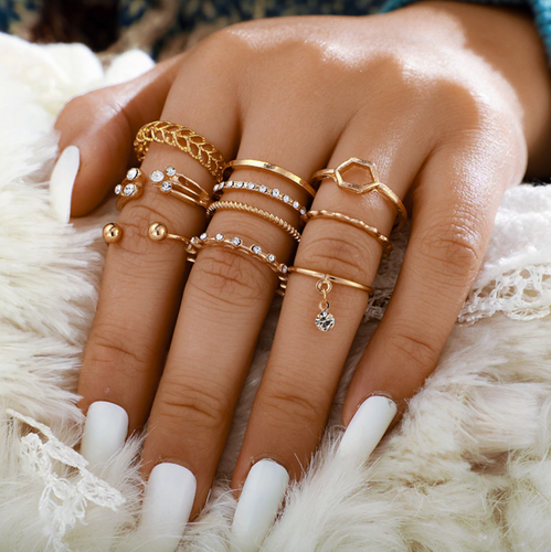 8pcs/sets Bohemian Geometric Rings Sets Clear Crystal Stone Gold Chain Opening Rings for Women