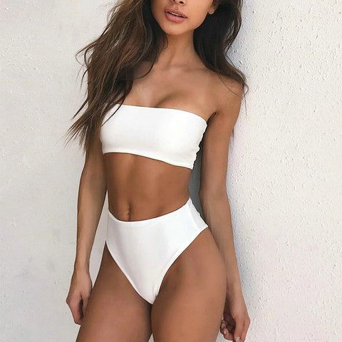 Hawaii Bandeau Bikini Set - Ivory White