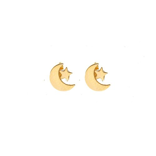 10k Yellow Gold Moon and Star Studs