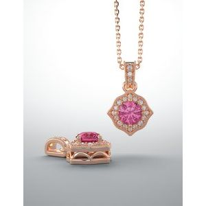 14K Rose Gold Baby Pink Topaz and Diamond Pendant