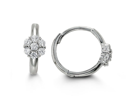 14k Yellow or White Gold CZ Huggie Earrings