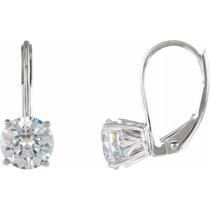 14k White Gold Moissanite Lever Back Earrings
