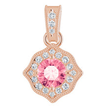 Load image into Gallery viewer, 14K Rose Gold Baby Pink Topaz and Diamond Pendant