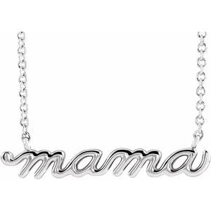 "Sterling Silver Petite Mama Script 18"" Necklace"