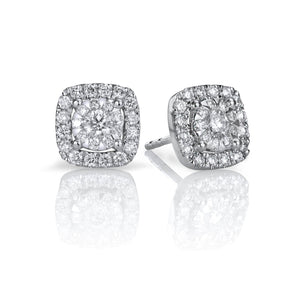 14k White Gold Diamond Bouquet Stud Earrings