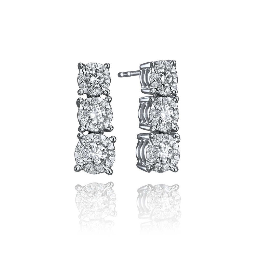 14k White Gold Diamond Bouquet Stud Drop Earrings