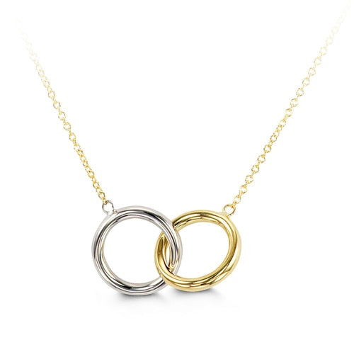10k Yellow and White Gold Double Circle Necklace