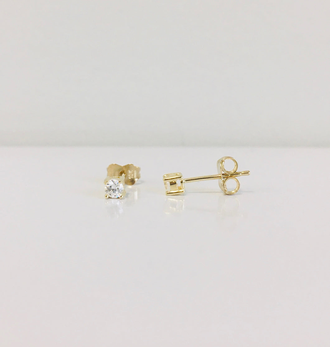 10k Yellow or White Gold CZ Studs