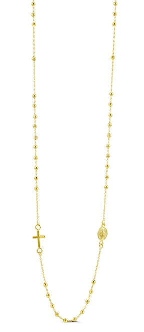 14K Yellow Gold Rosary Necklace.